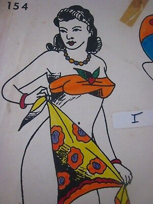 Vintage Tattoo Flash...Pinups  # 154...11'' x 14 '' Hand colored