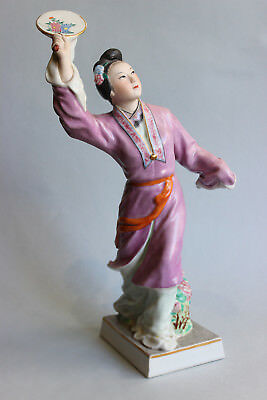 Old Jingdezhen Chinese porcelain figurine figure statue of girl with Fan