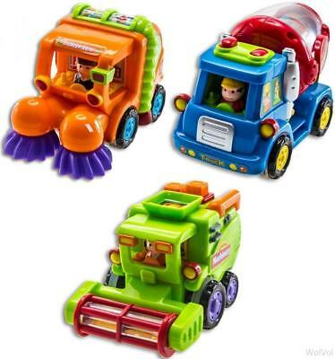 WolVol (Set of 3) Push and Go Friction Powered Car Toys for Boys - Street