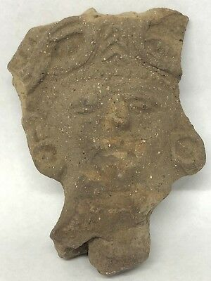 Antique Clay Adorno Temple Ritual Figurine Face Headdress Funereal Object