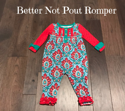e42d7311592 Matilda Jane Baby Girls Sz 18-24 New NWT Better Not Pout Romper Outfit Knit