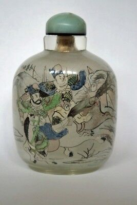 Large Antique Reversed Glass Painted Snuff Bottle with Military Scene