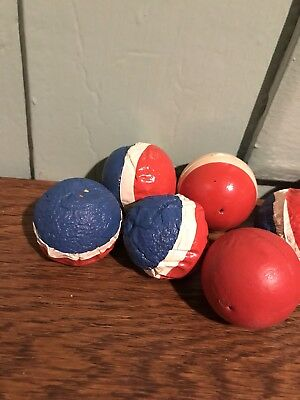 Early 1900's Antique Lot of 8 Carnival Game Rubber Balls Red White and Blue 2 In