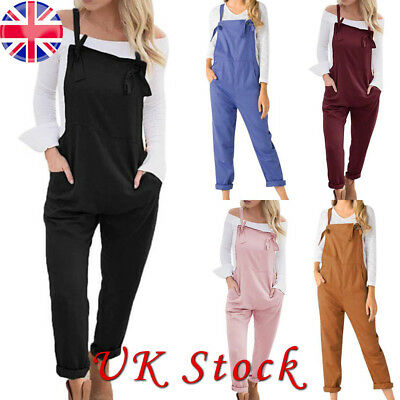 Women Summer Dungarees Jumpsuit Ladies Casual Dungarees Pocket Playsuit Overalls