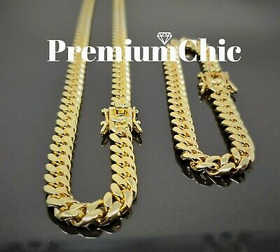 8mm Mens Miami Cuban Link Bracelet & Chain SET 14k Gold Plated Stainless Steel