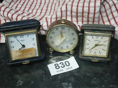 SWIZA & LOOPING Travel Clocks for parts & spare, mantle dial winder spring alarm