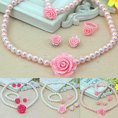 Kids Girls Child Pearl Flower Shape Necklace Bracelet Ring Ear Clips Set J HVO