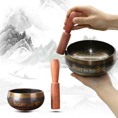 Singing Bowl Tibetan Meditation Mallet Hammered Yoga Buddhist Brass Chakra
