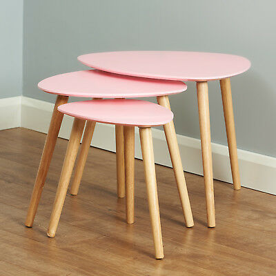 Pink & Wood Scandinavian Modern Set of 3 Living Room Nested Coffee/End Tables
