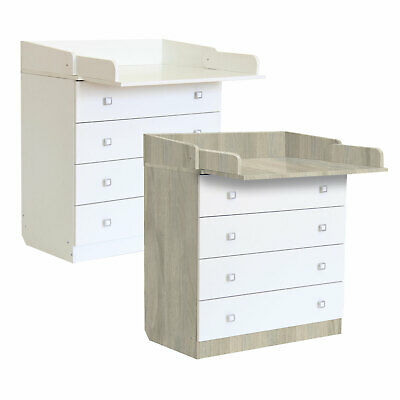 Baby Changing Unit 4 Drawer Infant Cupboard Table 1580 White or Elm