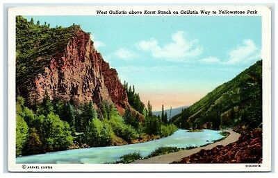 Mid-1900s West Gallatin above Karst Ranch on Gallatin Way, WY Postcard