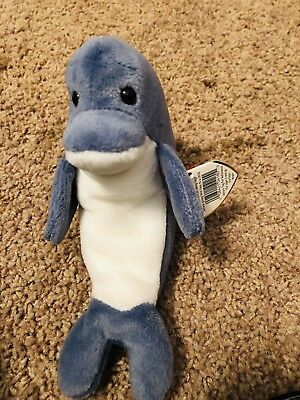 fbf2f9b25ab Rare Ty Beanie Baby Babies ECHO the DOLPHIN Collectible Stuffed Toy 1996  Retired