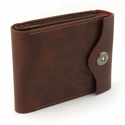 Fashion Mens Luxury Soft Quality Leather Wallet Credit Card Holder Purse Brown