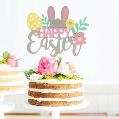 Happy Easter Bunny Rabbit Cupcake Cakes Decor Toppers Picks Flag Party Supply