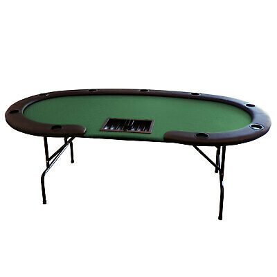 """The Hansen 84"""" Professional 9 Seater Green Suited Speed Cloth Table Chip Tray"""