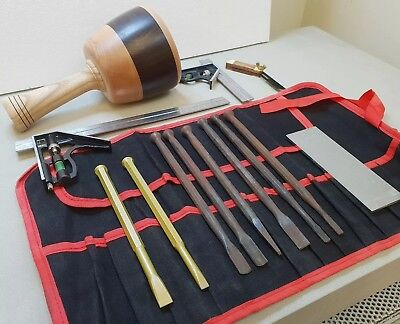 Stone Mason's Full Tool Kit 14pc inc, Andlee mallet & 2 tungsten tipped chisels
