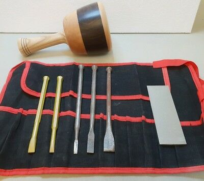 Stone Mason's Full Tool Kit 8pc inc, Andlee mallet & 2 tungsten tipped chisels