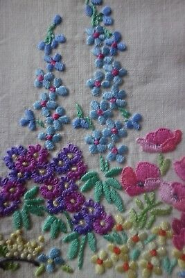 Beautiful Vintage Embroidered Tablecloth Raised Embroidery Garden Flowers Catkin