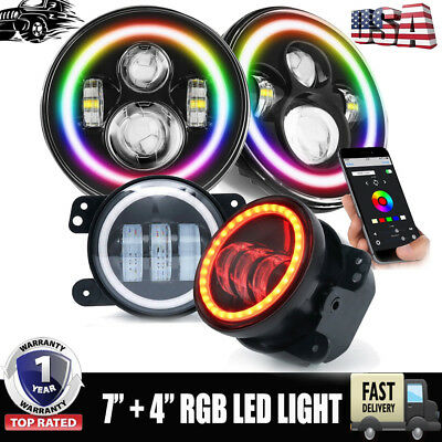 Multi- Colors LED RGB Changing Headlight + Fog Light Kit Combo For Wrangler JK