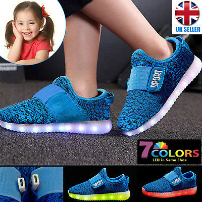 Kids LED Light Up Flashing Home Party Sneakers USB Rechargeable Trainers Shoes