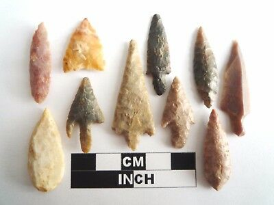 Neolithic Arrowheads x 10, High Quality Selection of Styles - 4000BC - (1077)