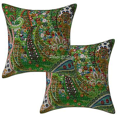 """Cotton Indian Kantha Printed Pillow Case Covers Paisley Cushion Cover 2 Pc 16"""""""