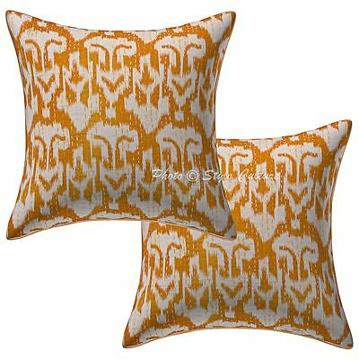 Indian Ikat Kantha Printed Pillow Case Covers 40 cm Ethnic 2 Pc Cushion Covers