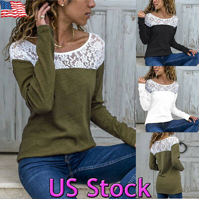 Fashion Women Summer Loose Patchwork Long Sleeve Lace Splice T Shirt Top Blouse
