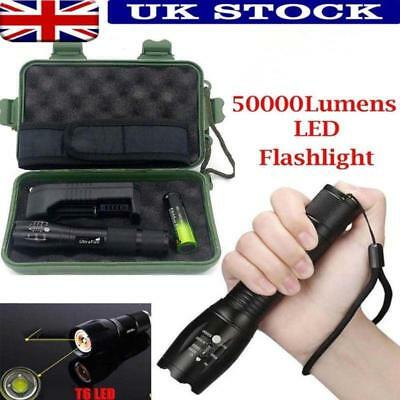50000LM T6 LED Tactical Flashlight Zoomable Flash Torch Lamp Light+18650+Charger