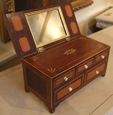 Circa 1800 Mahogany Vanity / Jewellery box, chest of drawers With mirror