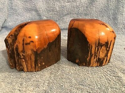 Vintage Mid-Century Modern Burled Rounded Wood Bookends C@@l