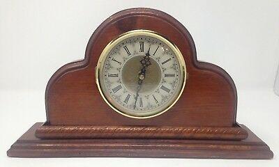 Vintage Battery Operated Wooden Mantle Clock Made In U.S.A.