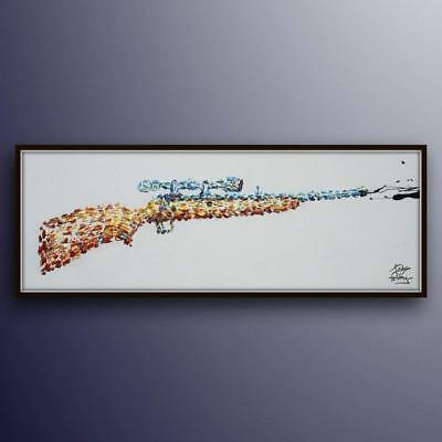 """Painting 60"""" Shooting Rifle , thick oil paint impasto style modern Art on canvas"""