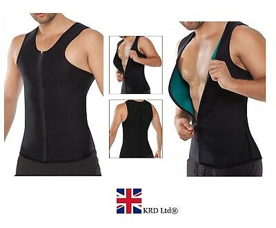 Mens Slimming BODY SHAPER Neoprene Weight Loss Vest Sweat Suit Sauna Shirt UK