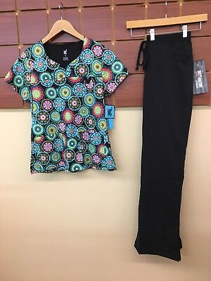 NEW Black Print Scrubs Set With Small Top & Grey's Anatomy Small Tall Pants NWT