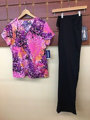 NEW Black Print Scrubs Set With Large Top & Grey's Anatomy Large Tall Pants NWT