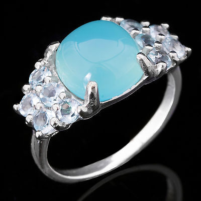 Natural 10Mm Blue Chalcedony & Sky Blue Topaz Sterling Silver 925 Ring Size 7