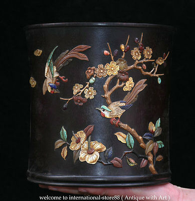 """8"""" Chinese Palace Red Sandal Wood inlay Shell Flower Bird Brush Pot Pencil Vase"""
