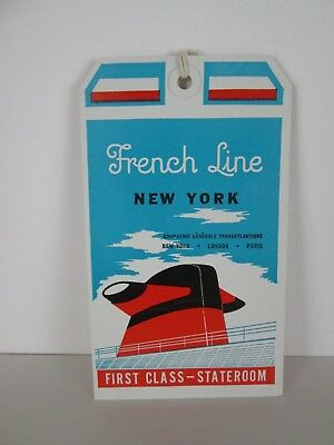 Etiquette Baggage French Line New York (Paquebot France) Debut Annees 70
