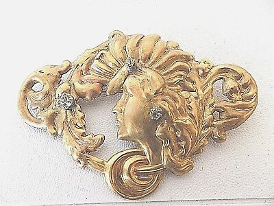 Antique Large Art Nouveau Rhinestone & Woman Gilt On Brass Sash Pin/Brooch