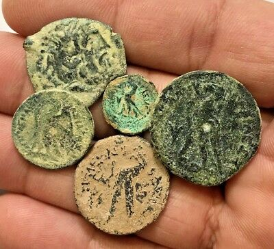 LOT OF 5 pcs  Ancient Greek PTOLEMY AE COINS