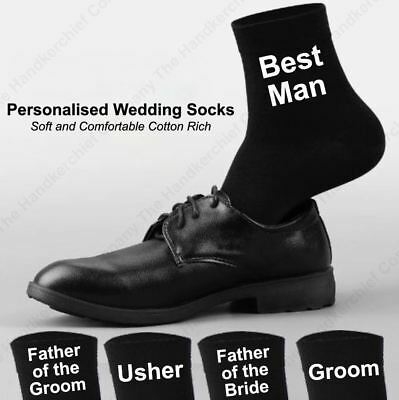 Mens Personalised Wedding Socks UK Gift Custom Vinyl Print Groom Funny Party
