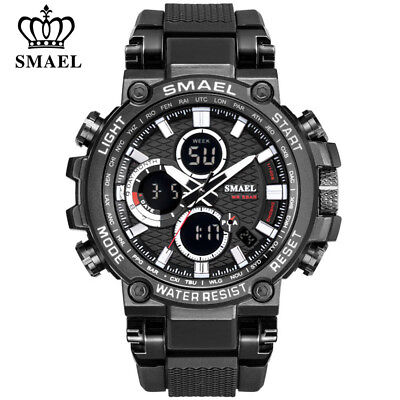 SMAEL Men Sport Watches Fashion Digital Chronograph Quartz Watch LED Wristwatch