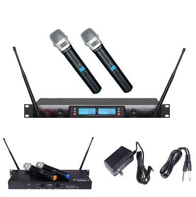 GTD Audio 2x100 Selectable Channel UHF Wireless Hand-held Microphone Karaoke Mic
