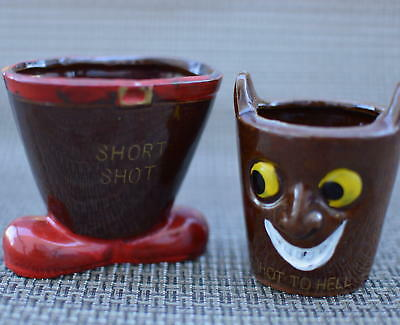 Novelty Ceramic Shot  Glass Barware Made in Japan Brown Short Shot, Shot to Hell