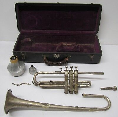 Vtg 1900s-20s? Boston Musical Instrument Company Silver? Trumpet Cornet As Is