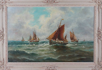 George Stanfield Walters RBA Large British Shipping Marine Oil Painting 19th C