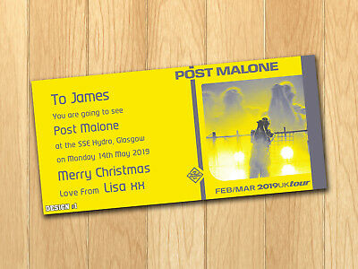Post Malone Gift Card Voucher Present Birthday Christmas Ticket with envelope