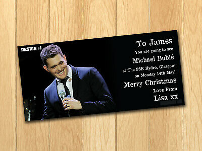 Michael Buble Gift Card Voucher Present Christmas Birthday Ticket with envelope