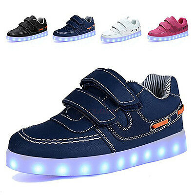 Kids Children 7 LED Luminous Light up Shoes Cool Casual Sportswear Sneakers